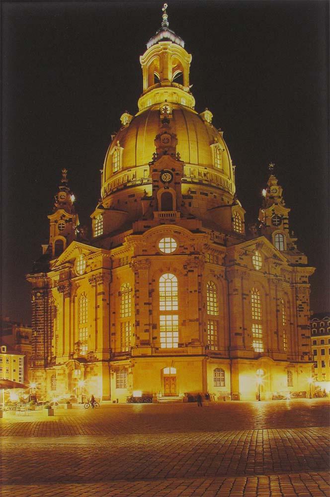 Klares Glas mit Digitaldruck, Motiv Frauenkirche Dresden