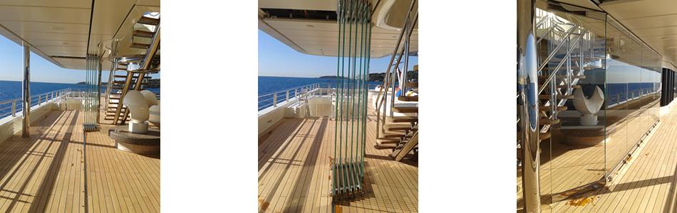 Teufelbeschlag HSW (Horizontal Schiebewand) - Reihe 800 - auf einem Kreuzfahrtschiff