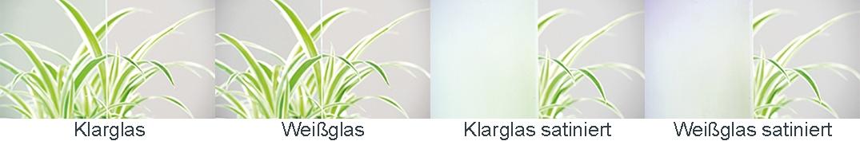 Klarglas | Weissglas | Klarglas satiniert | Weissglas satiniert